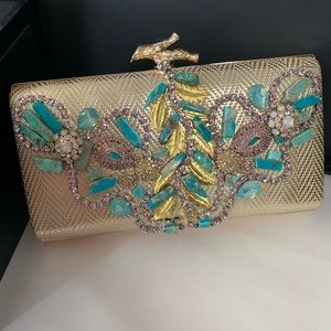Handbags - Unique gold clutch with natural turquoise stones